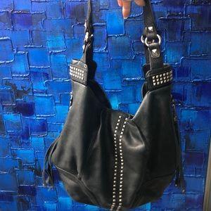 Genuine Leather Black Studded Purse B Makowsky